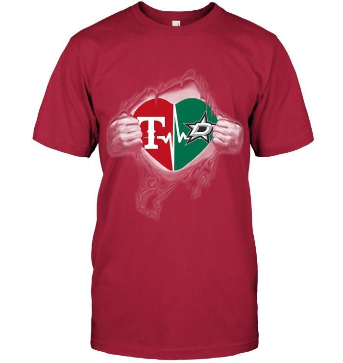 Texas Rangers Dallas Stars Love Heartbeat Ripped Shirt