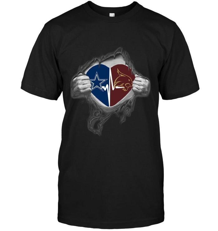 Dallas Cowboys Texas State Bobcats Love Heartbeat Ripped Shirt