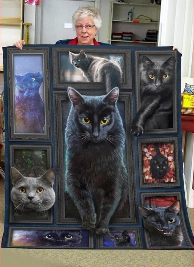 3d Huge Black Cat Quilt Blanket