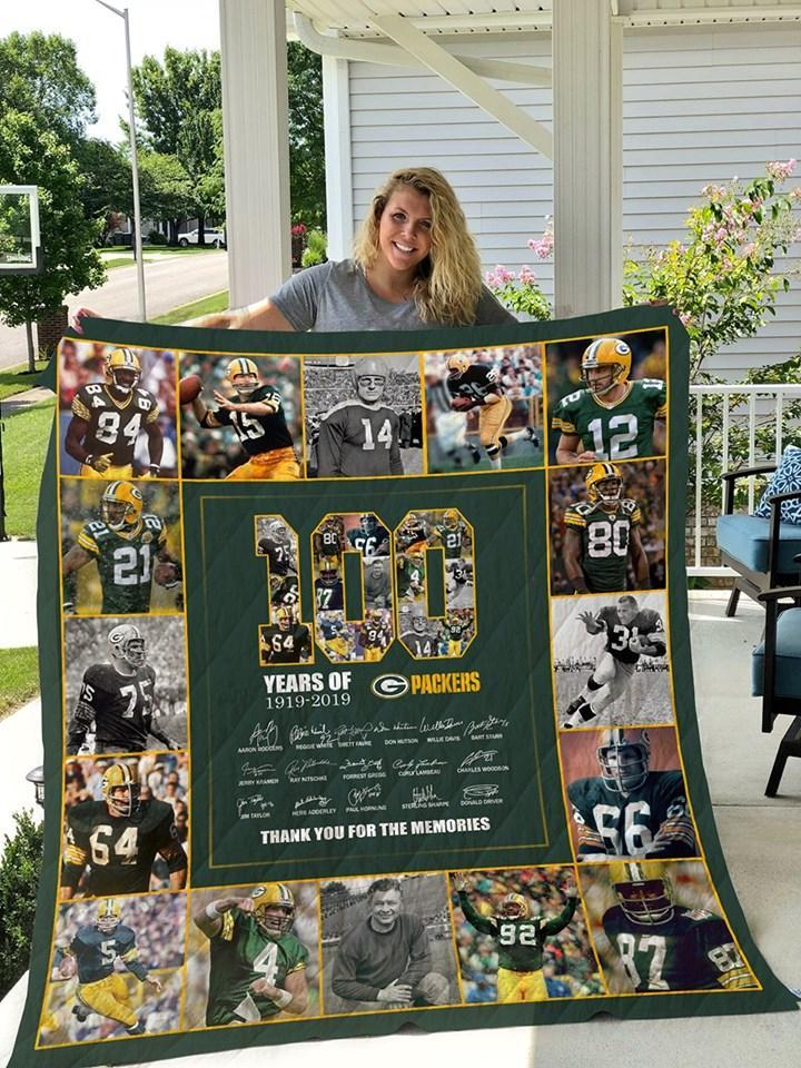 100 Years Of Green Bay Packers Thank For Memories Members Signed Blanket