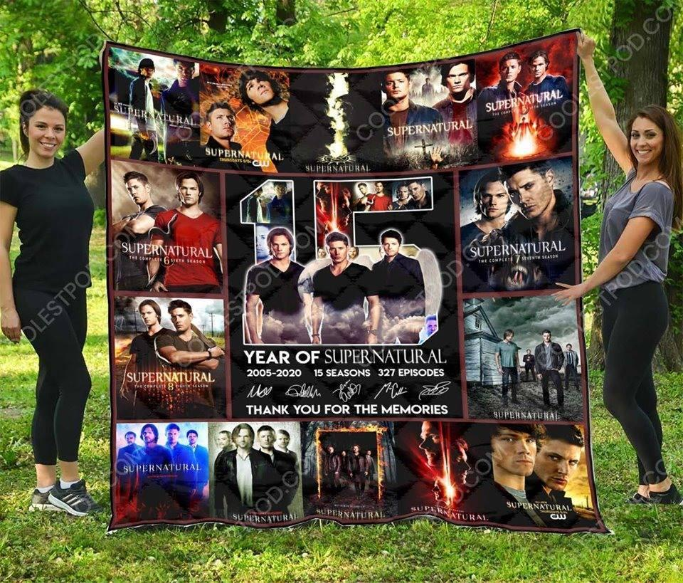 15 Years Of Supernatural Thank For Memories Characters Signed Blanket