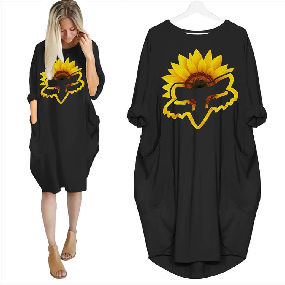 Sunflower Racing Motorbike Lovers Batwing Pocket Dress