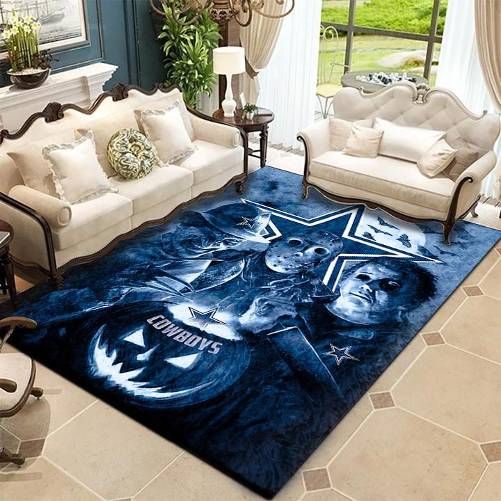 Freddy Jason Michael Myers Love Dallas Cowboys Pumpkin Head Halloween Rug