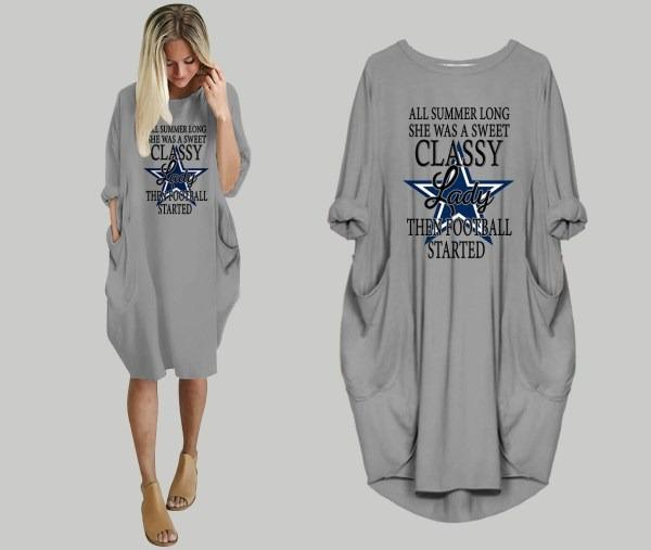 All Summer Long She Was Sweet Classy Lady Football Started Dallas Cowboys Batwing Pocket Dress