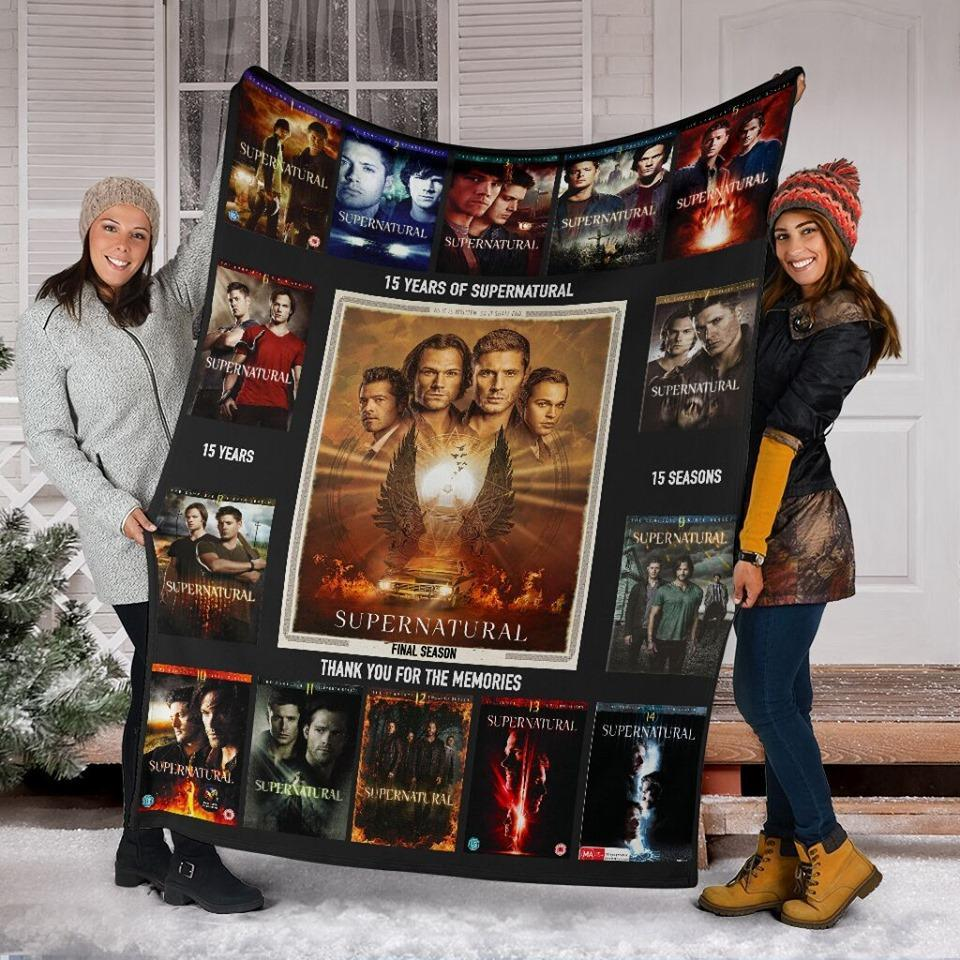 15 Years Of Supernatural Final Season Thank You For Memories Quilt Blanket