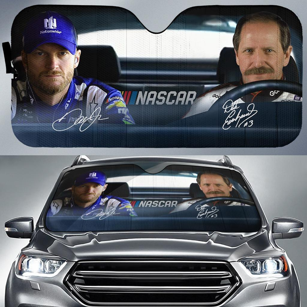 Nascar Racing Dale Earnhardt Father And Son Signed Auto Sun Shade
