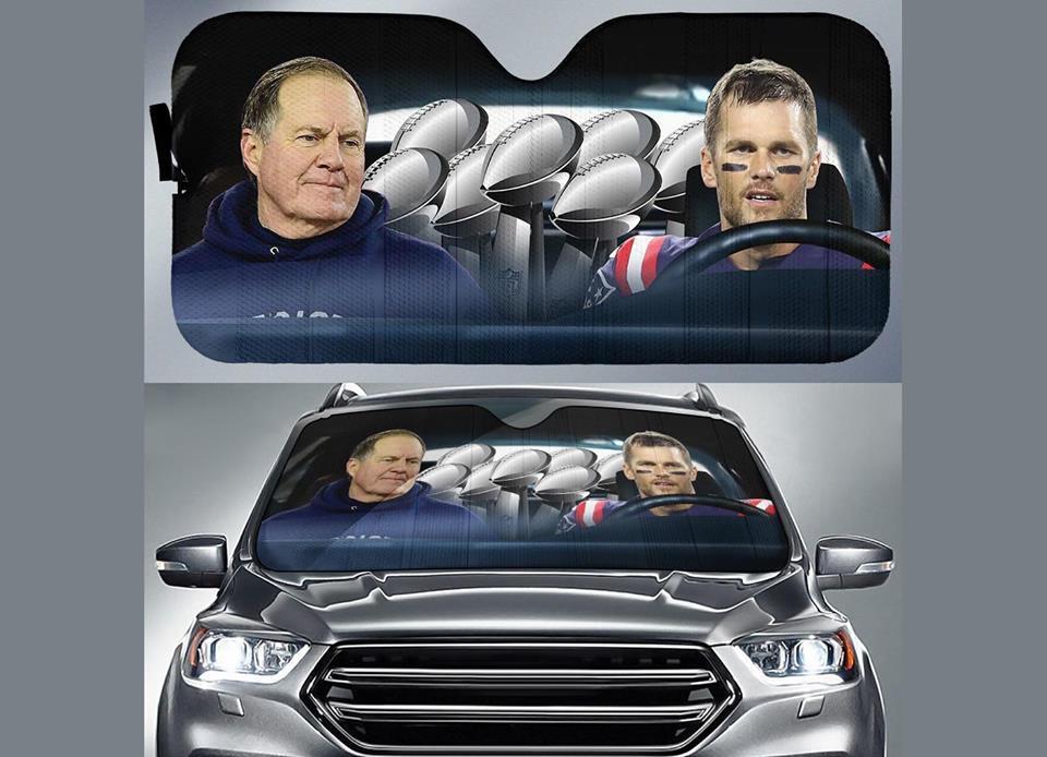 New England Patriots Tom Brady Bill Belichick In Car Auto Sun Shade