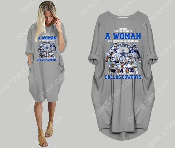 Never Underestimate Woman Understand Football And Loves Dallas Cowboys Batwing Dress