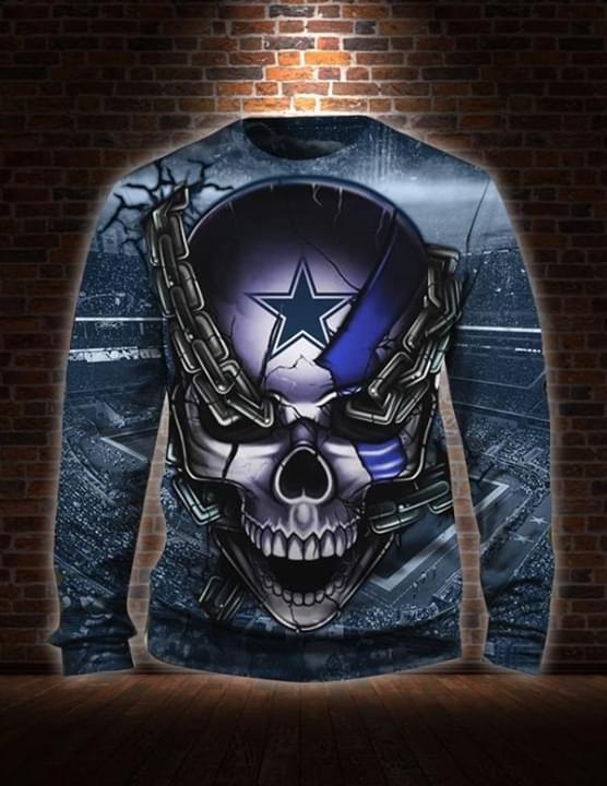 Dallas Cowboys Skull Chain 3d Printed Sweatshirt 3d