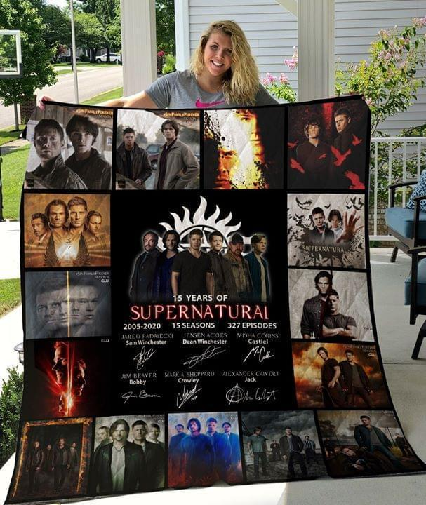15 Years Supernatural 2005 2020 15 Seasons Cast Signatures Quilt Blanket