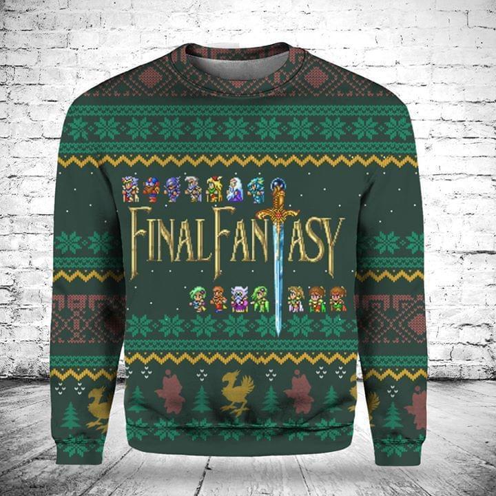 Final Fantasy Christmas Knitting Pattern Fan Quilt Blanket Sweatshirt 3d