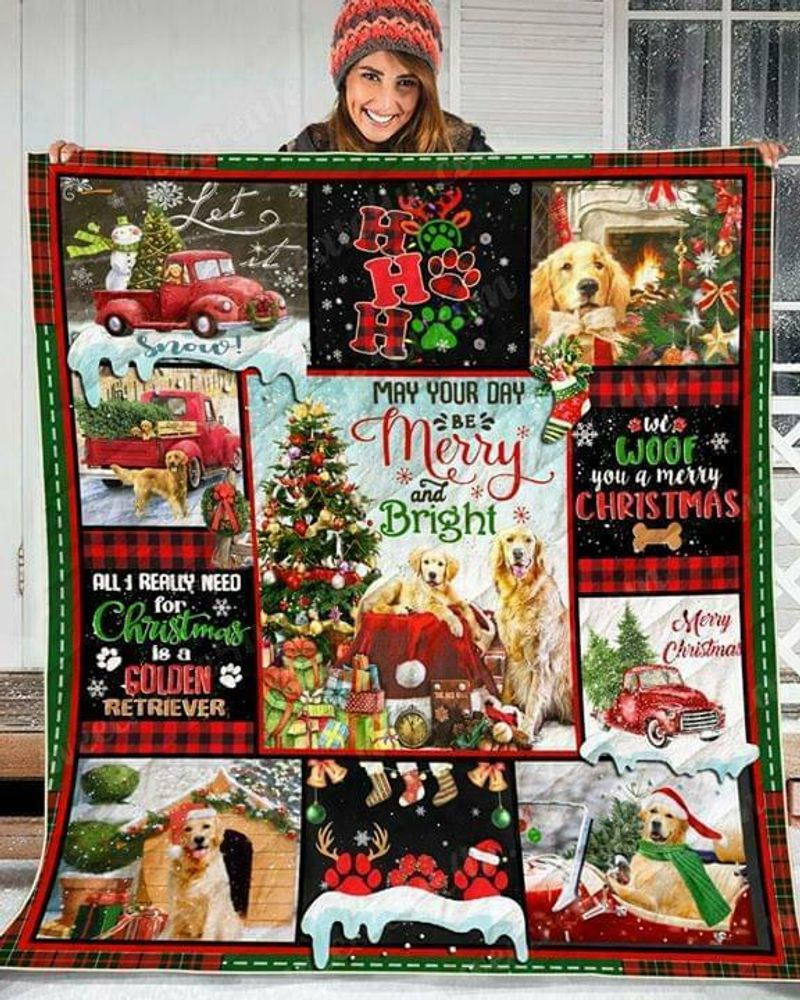 Golden Retriever May Your Day Be Merry And Bright Polycotton Quilt 3 Sizes