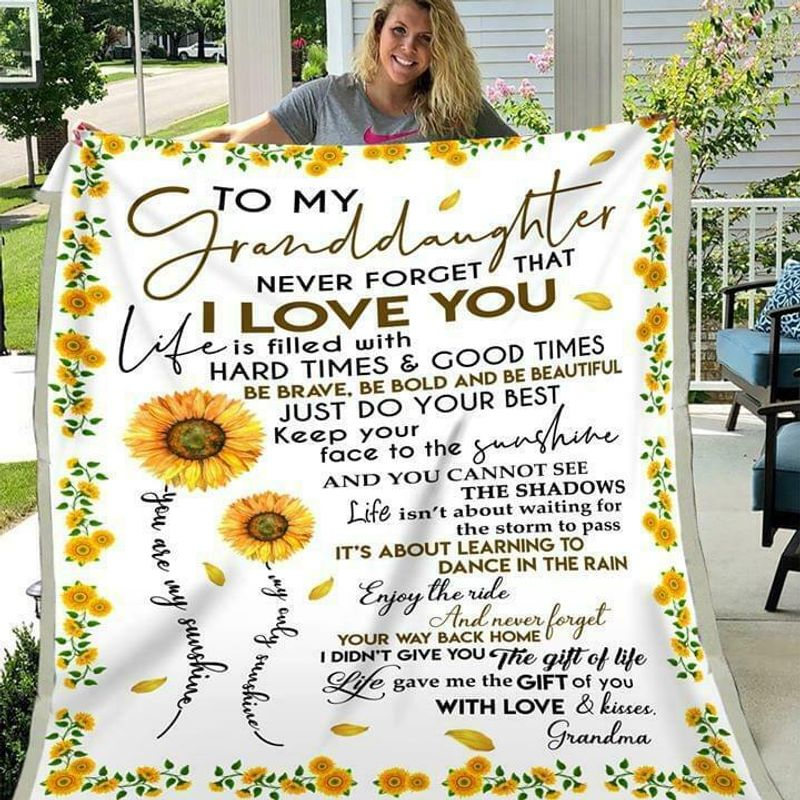 Sunflower To My Granddaughter Never Forget That I Love You Grandma Cotton Quilt