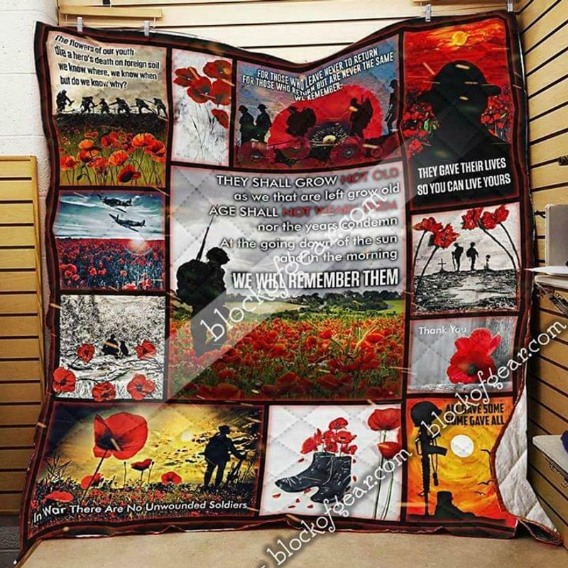 Veteran They Shall Grow Not Old As We That Are Left Grow Old Quilt 3 Sizes