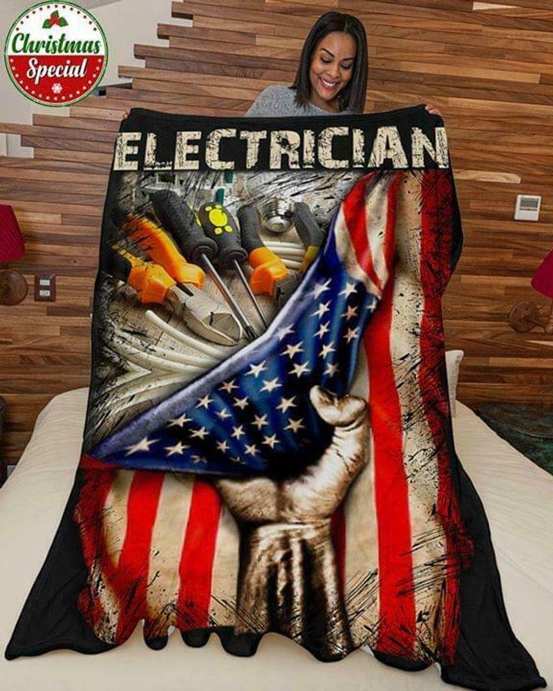 Electrician Us Flag 3d 60-102 Washable Preshrunk Poly Cotton Quilt 3 Sizes
