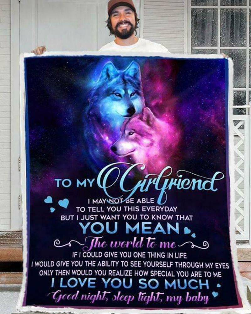 Wolf To My Girlfriend You Mean The World To Me 60-102 Poly Cotton Quilt