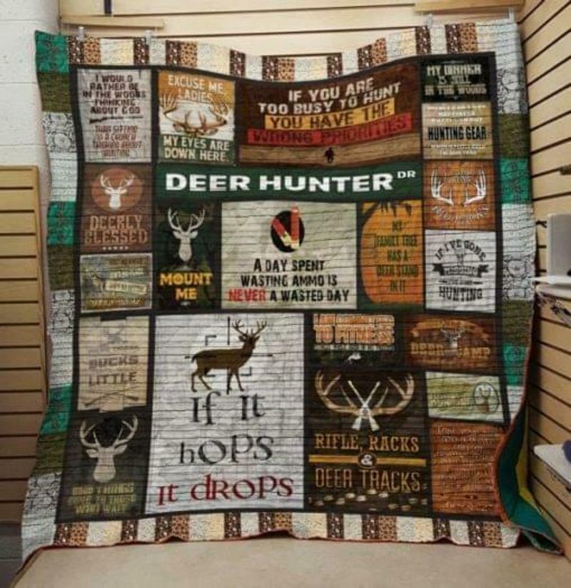 Deer Hunter A Day Spent Wasting Ammo Is Never A Wasted Day Poly Cotton Quilt