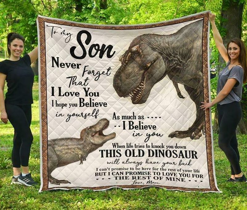 Dinosaur To My Son Never Forget That I Love You Love Mom Poly Cotton Quilt