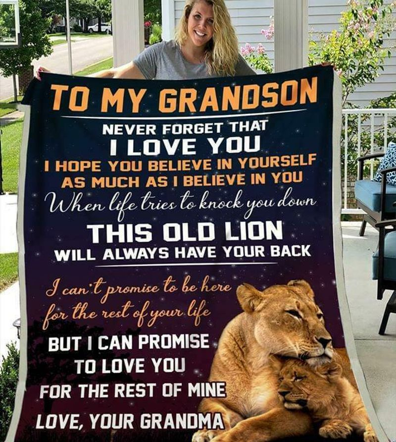 Lion To My Grandson Never Forget That I Love You Love Your Grandma Quilt