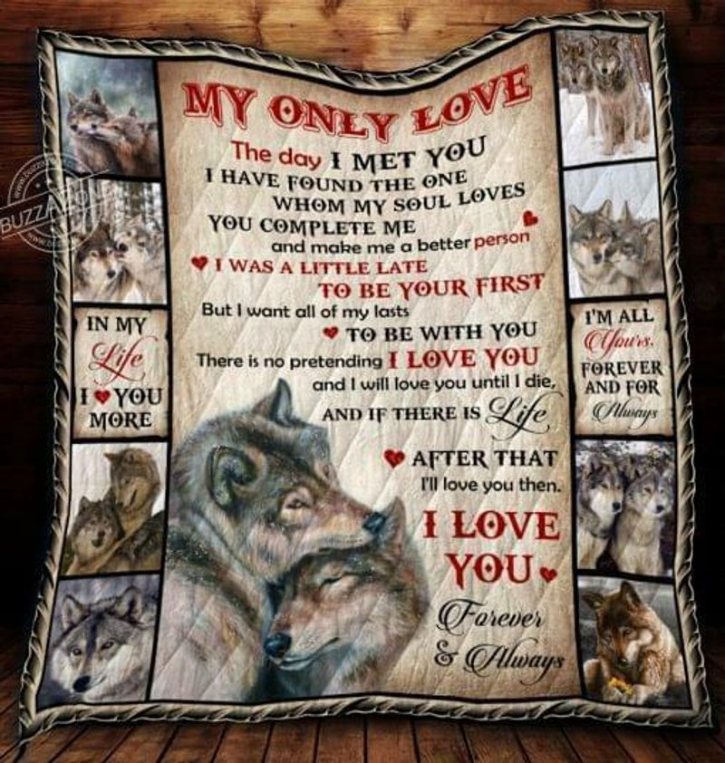 Wolf My Only Love The Day I Met You Ive Found The One Polycotton Quilt 3 Sizes