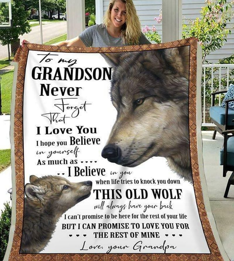 Wolf To My Grandson Never Forget That I Love You Love Your Grandma Quilt 3 Sizes