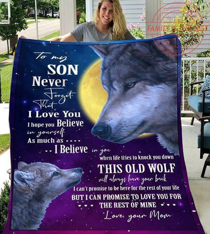 Wolf To My Son This Old Wolf Will Always Have Your Back Love Mom Ver 2 Quilt