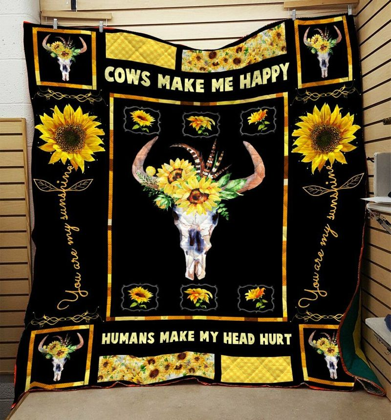Cow Sunflower Cows Make Me Happy 60-102 Washable Preshrunk Quilt 3 Sizes