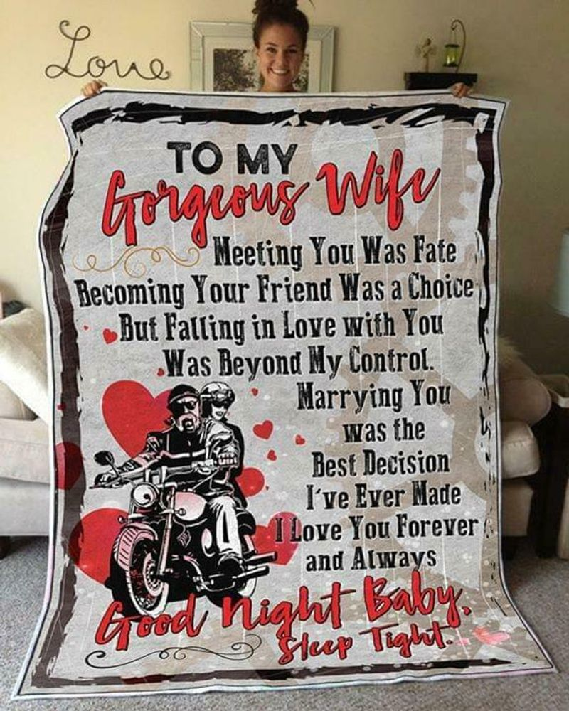 Biker To My Gorgeous Wife Meeting You Was Fate Good Night Baby Cotton Quilt