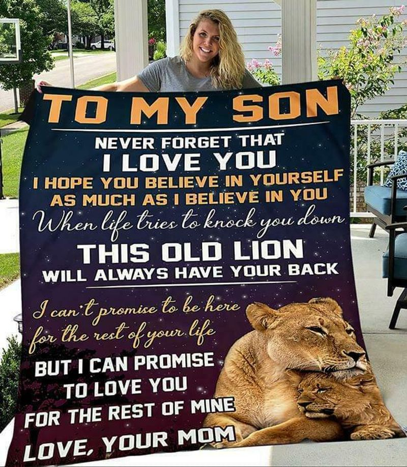 Lion To My Son Never Forget That I Love You Love Your Mom V2 Poly Cotton Quilt