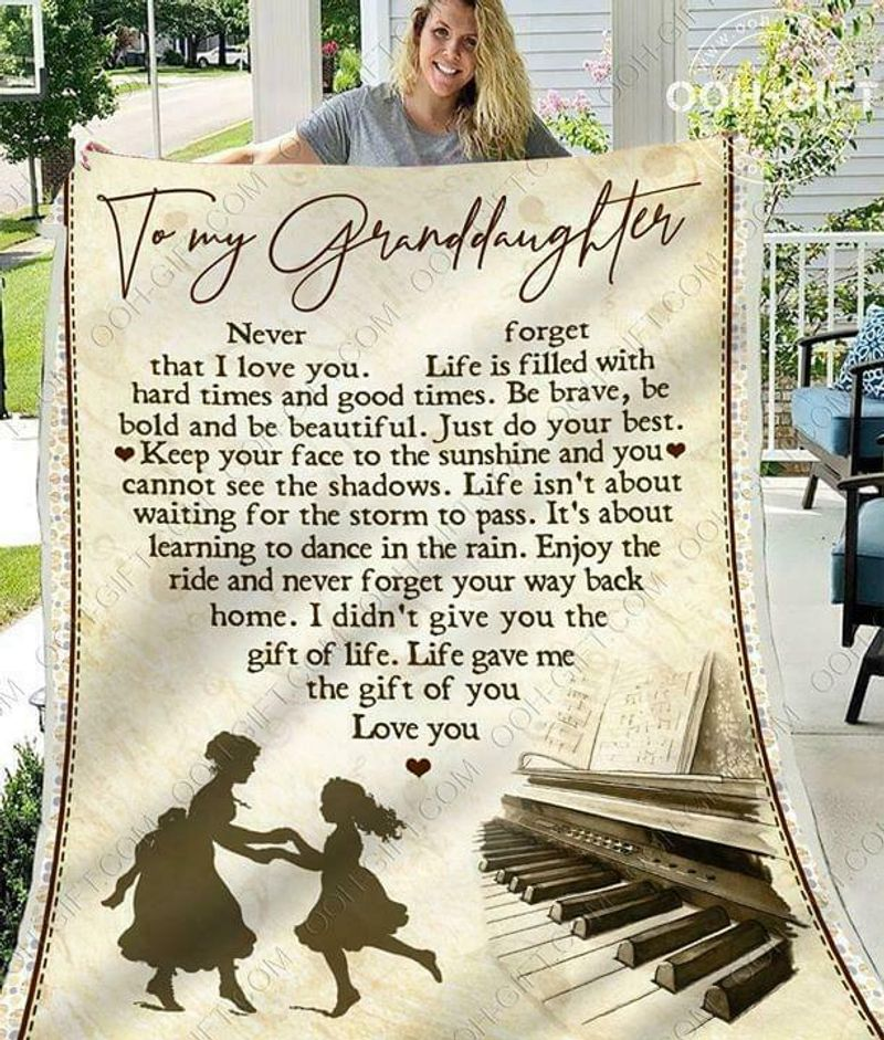 Piano To My Granddaughter Never Forget That I Love You 60-102 Quilt 3 Sizes