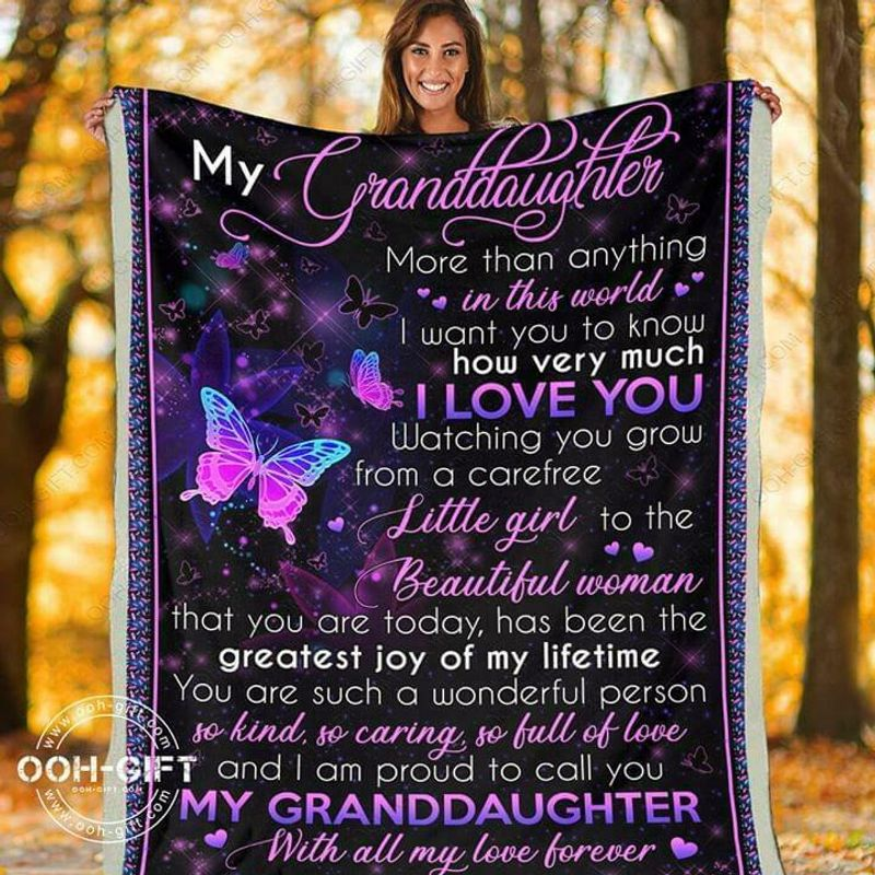 My Granddaughter More Than Anything In The World I Love You Poly Cotton Quilt