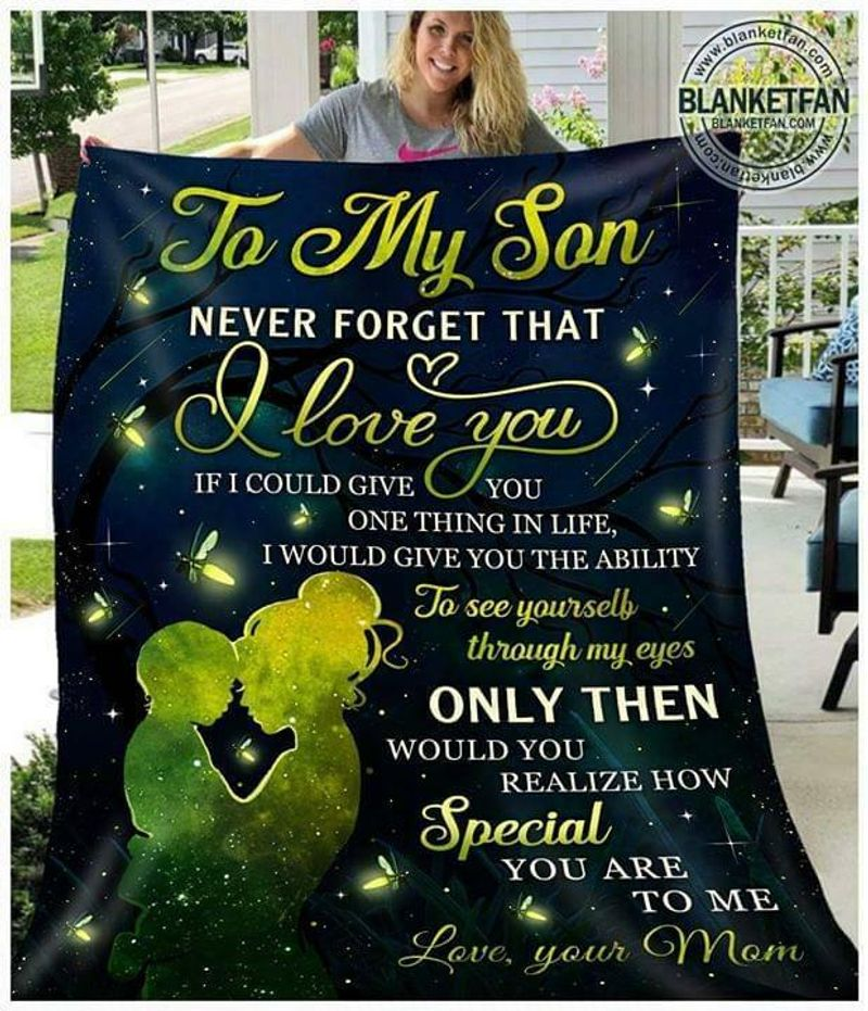 To My Son Never Forget That I Love You Love Your Mom Preshrunk Poly Cotton Quilt