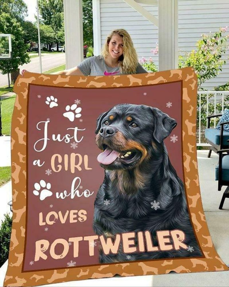 Just A Girl Who Loves Rottweiler 60-102 Washable Preshrunk Poly Cotton Quilt