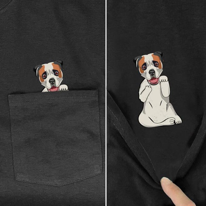 American Bulldog Middle Finger Pocket Shirt