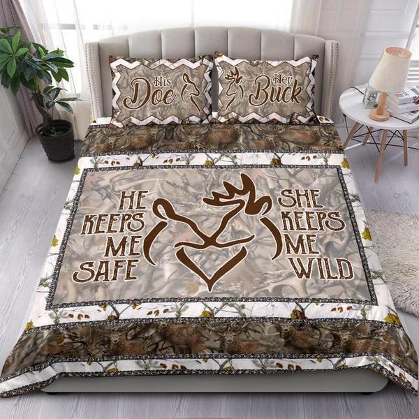 He Keeps Me Safe She Keeps Me Wild Deer Bedding Set