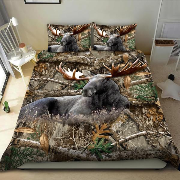 Elk Lying Wood Forest Nature Hunter Hunting Bedding Set