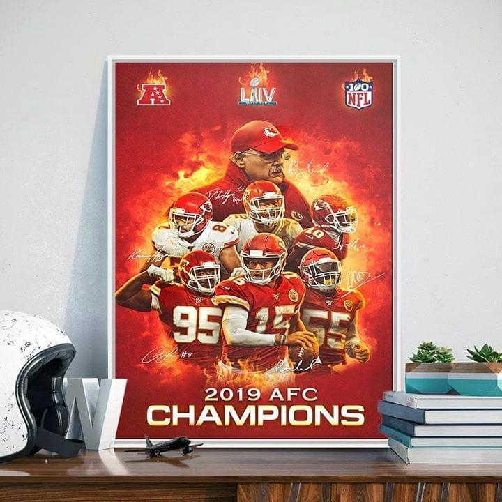 2019 Afc Champions Kansas City Chiefs Players And Coach Signatures Poster Canvas