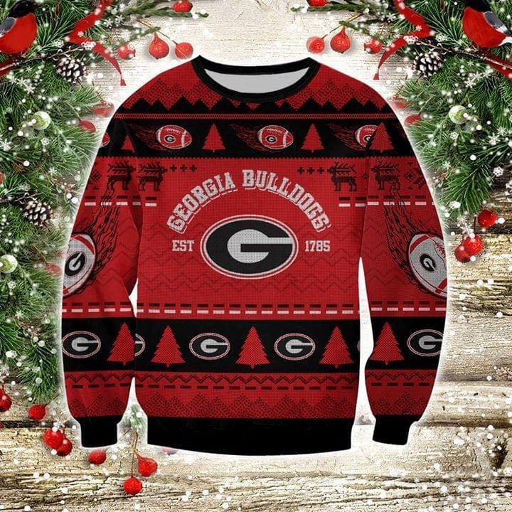 Georgia Bulldogs Est 1785 Ugly Christmas 3d Printed Sweatshirt 3d
