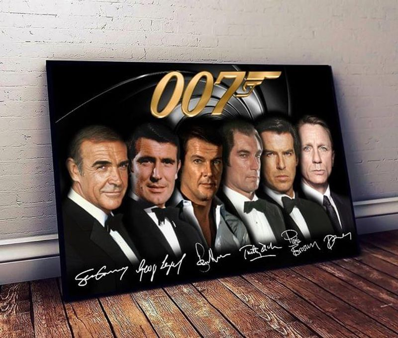 007 James Bond Signatures Poster No Frame/ Framed Canvas Wall Decor