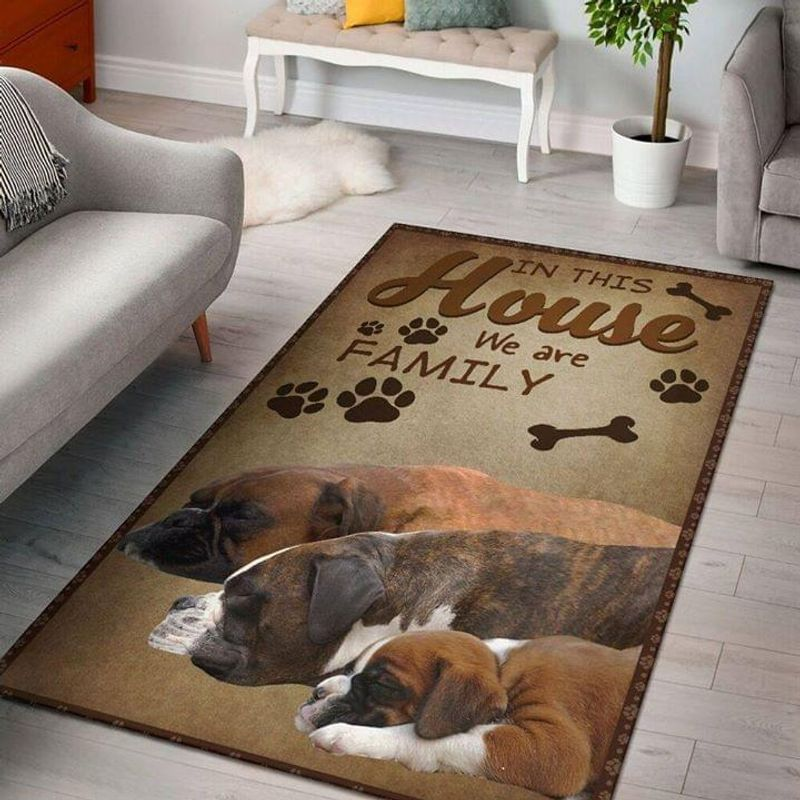 Boxer Lovers In This House We Are Family Area Rug