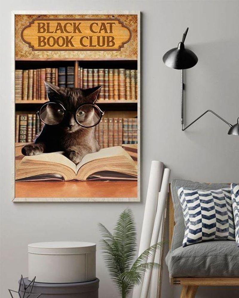 Black Cat Book Club Poster No Frame/ Framed Canvas Wall Decor