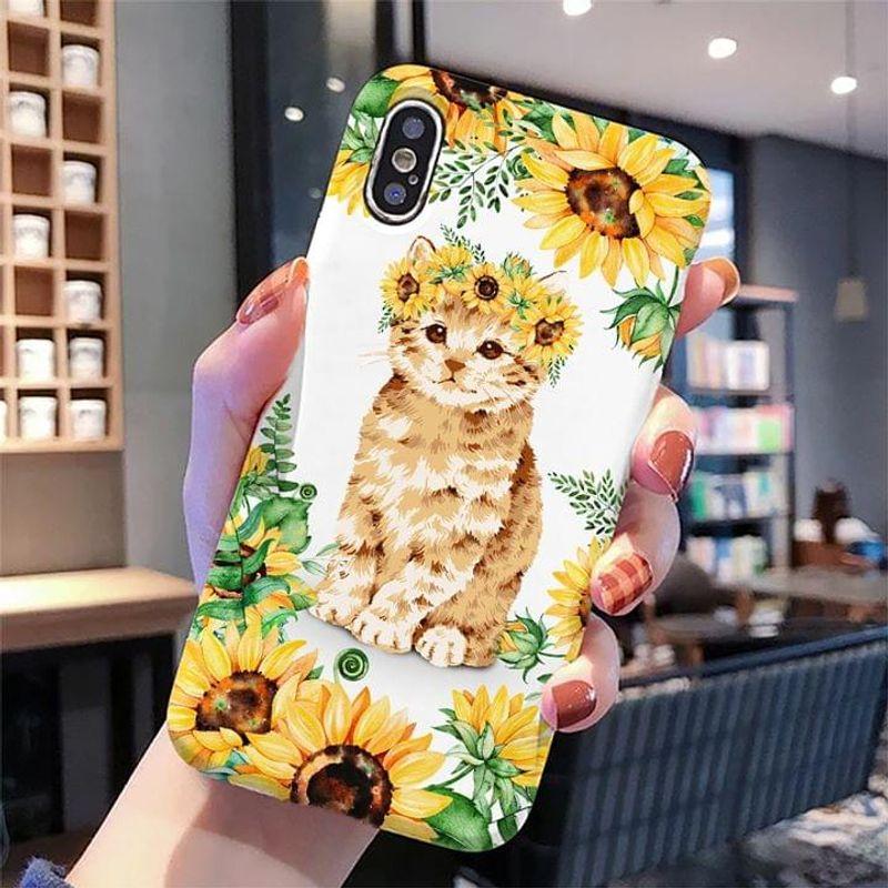 Lovely Cat Sunflower Phone Case Full Sizes Iphone Samsung