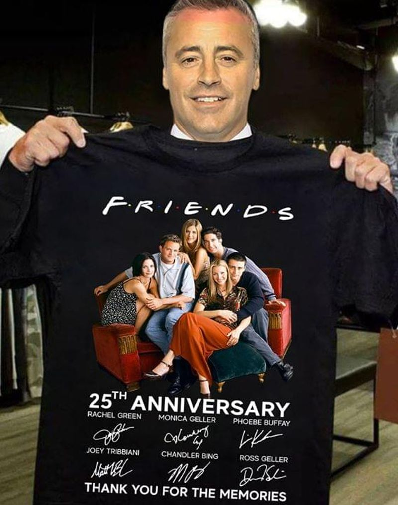 Friends 25th Anniversary Thank You For The Memories Signatures T Shirt S-6xl Mens And Women Clothing