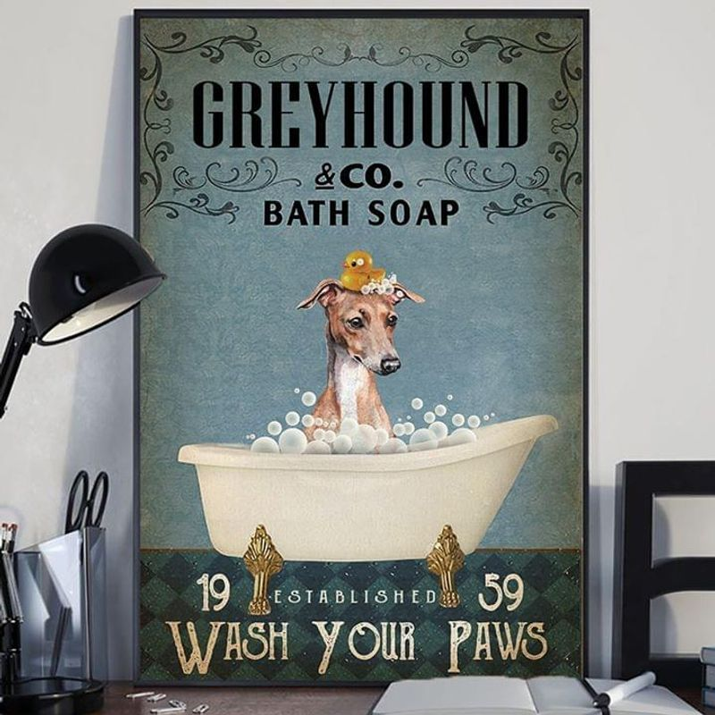 Greyhound & Co. Bath Soap Wash Your Paws Poster No Frame/ Framed Canvas Wall Decor