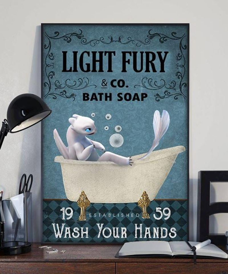Light Fury & Co. Bath Soap Wash Your Hands Poster No Frame/ Framed Canvas Wall Decor