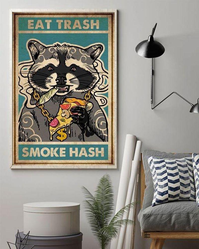 Raccoons Eat Trash Smoke Hash Poster No Frame/ Framed Canvas Wall Decor