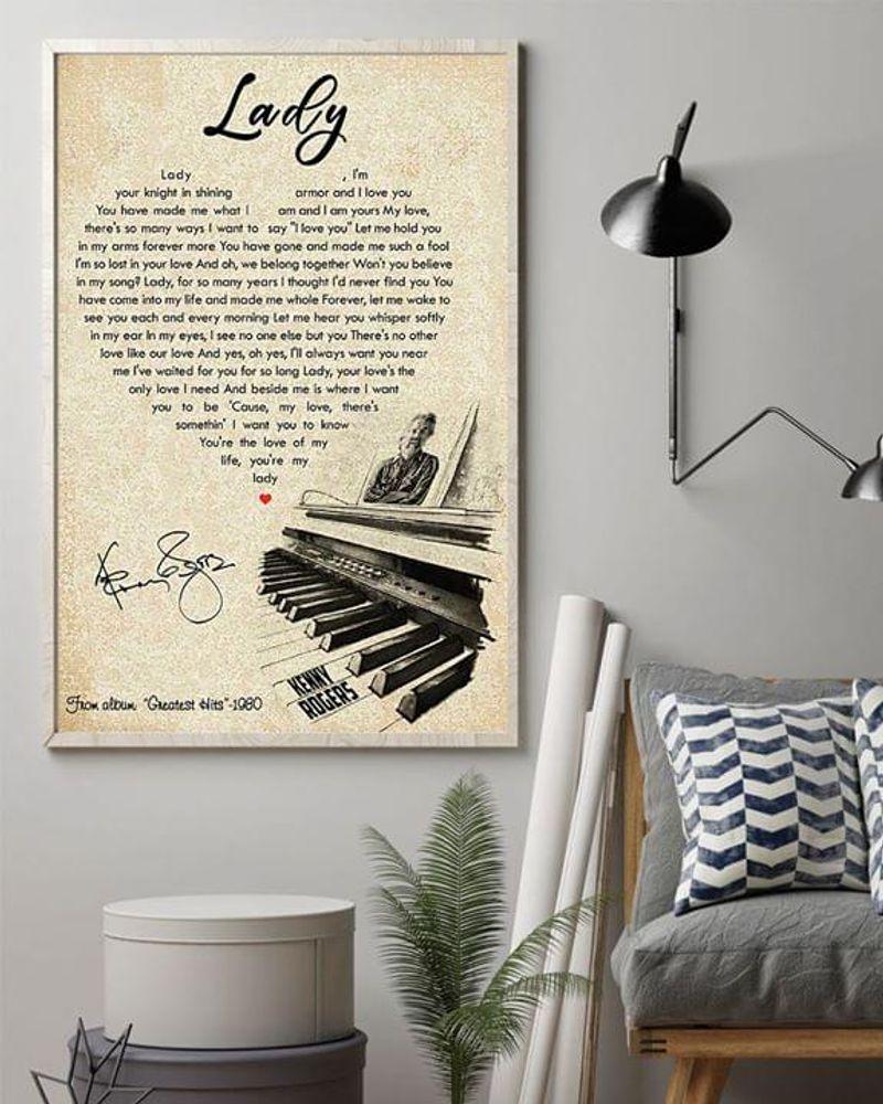 Kenny Rogers Lady Heart Lyrics Poster No Frame/ Framed Canvas Wall Decor