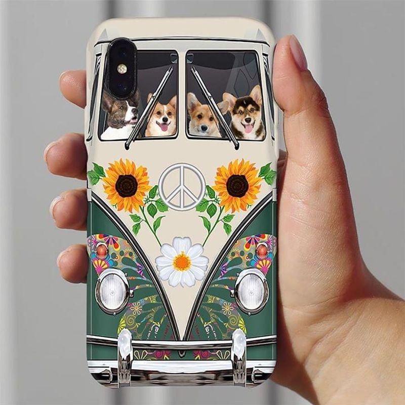 Corgi Hippie Bus Phone Case Full Sizes Iphone Samsung