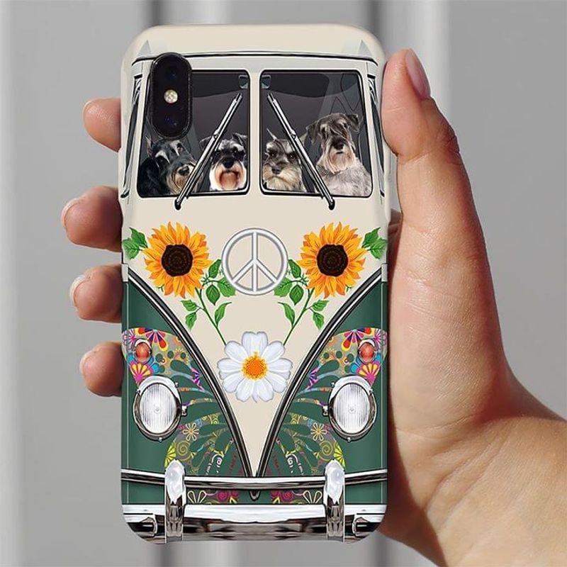 Schnauzer Hippie Bus Phone Case Full Sizes Iphone Samsung