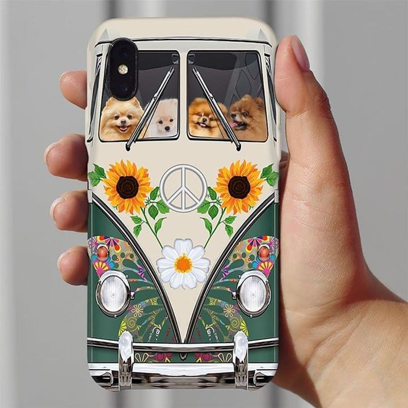 Pomeranian Hippie Bus Phone Case Full Sizes Iphone Samsung
